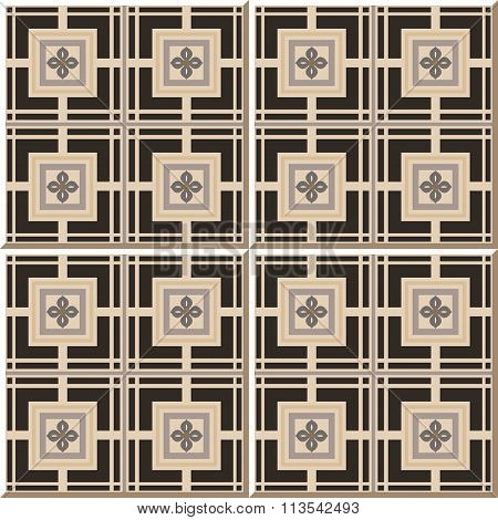 Vintage seamless wall tiles of square cross flower, Moroccan, Portuguese.