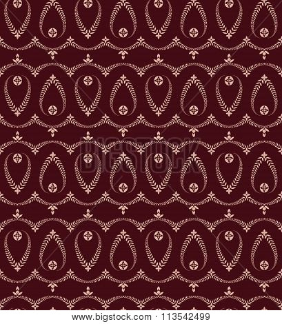 Seamless laurel wreath pattern of cross ornament. Lace view texture. Ceremonial, religious backgroun