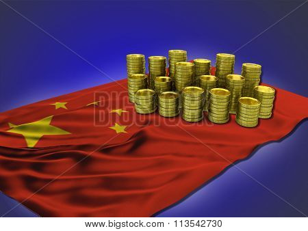 Chinese economy concept with national flag and golden coins