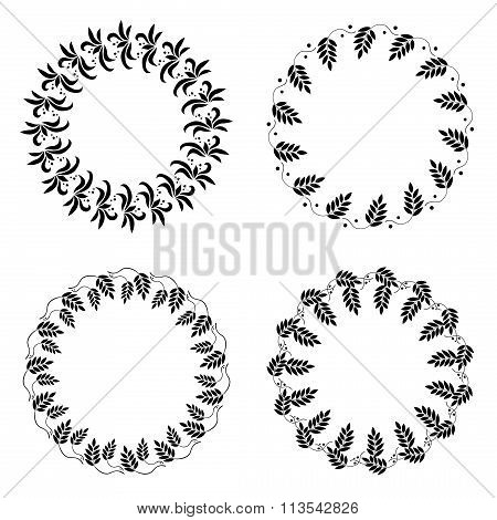 Laurel wreath tattoo set. Wheat ornament, black signs on white background. Victory, peace, glory sym
