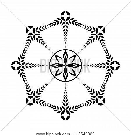 Laurel wreath tattoo icon. Black ornament. Cross sign on white background. Defense, harmony, glory s