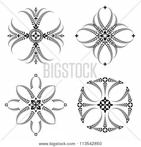 Laurel wreath tattoo set. Cross stylized ornaments, black signs on white background. Victory, defens