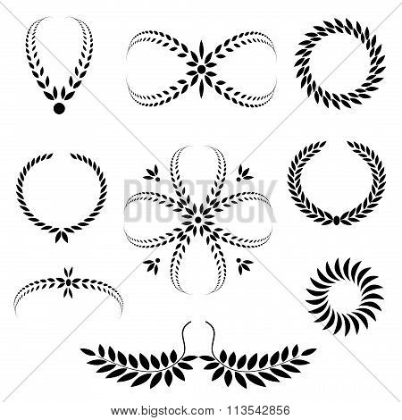 Laurel wreath tattoo set. Black stylized ornaments, signs on white background. Victory, defense, glo