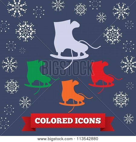 Skating icon. Sport symbol. Gray, red, green and orange signs on dark blue background. Snowflakes, r