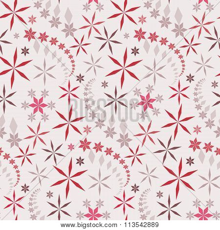 Seamless christmas pattern. Snowflakes, crystals on white background. Red, gray star silhouettes. Wi