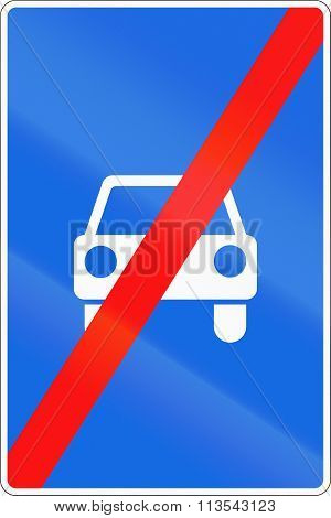 Road Sign Used In Russia - End Of Limited-access Road