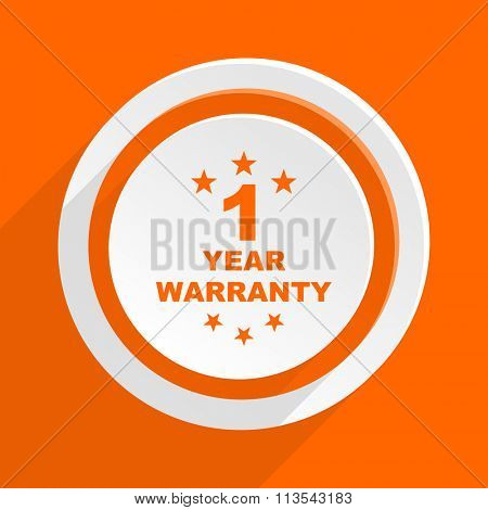 warranty guarantee 1 year orange flat design modern icon for web and mobile app