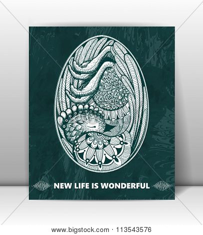 Happy Birthday. Greeting card with embryo in the egg. New life is wonderful. Abstract vector backgro