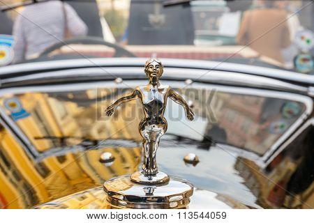 Krakow, Poland - May 15, 2015: Triumph On The Rally Of Vintage Cars In Krakow, Poland