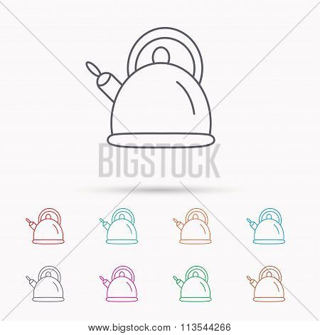 Teapot icon. Kitchen kettle sign.