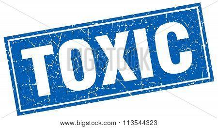 Toxic Blue Square Grunge Stamp On White
