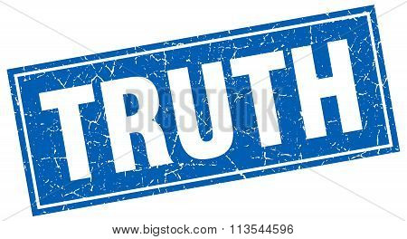 Truth Blue Square Grunge Stamp On White