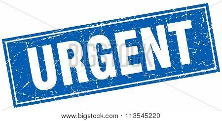 Urgent Blue Square Grunge Stamp On White