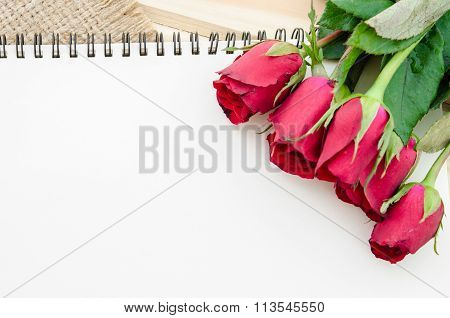 Open Blank Diary For Your Text With Red Roses.