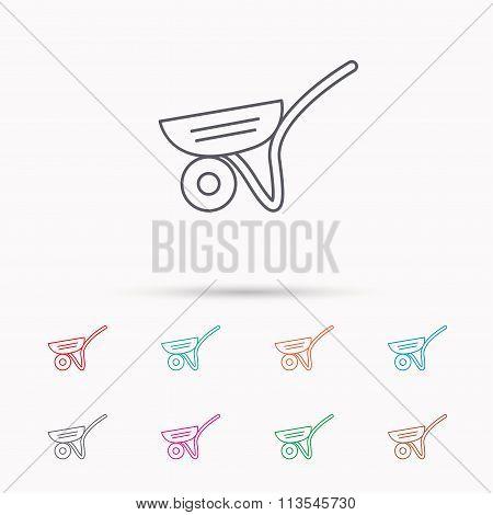 Trolley icon. Garden cart sign.
