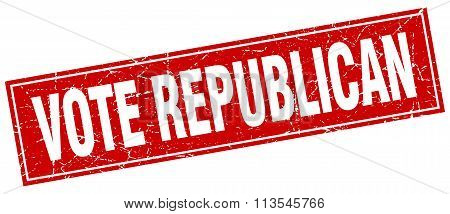 Vote Republican Red Square Grunge Stamp On White
