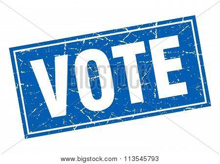 Vote Blue Square Grunge Stamp On White
