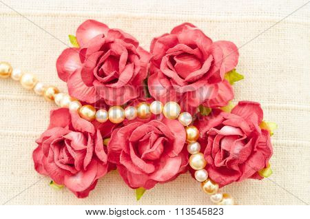 Vintage Red Roses And Pearl Necklace.