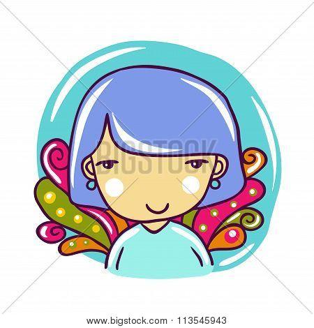 Portrait Of Cute Little Girl With Purple Hair