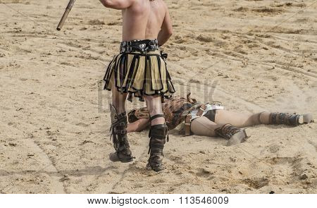 gladiator fights in the arena of the Roman circus, representation