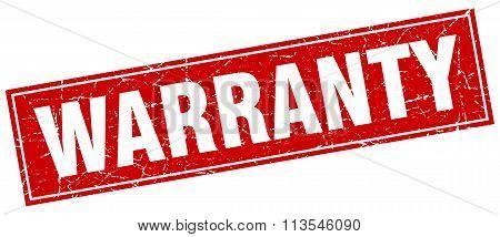 Warranty Red Square Grunge Stamp On White