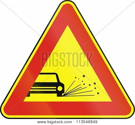Road Sign Used In Slovakia - Loose Chippings (as A Temporary Sign)