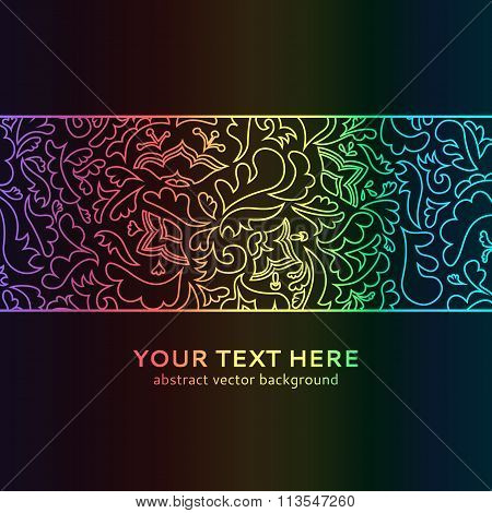 Abstract spectrum floral ornamental border on black background