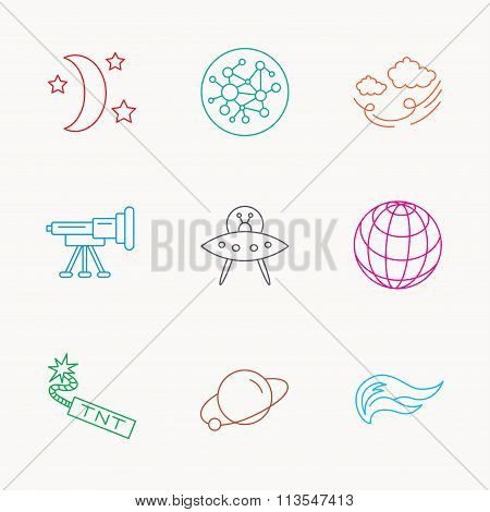 Ufo, planet and telescope icons. Global network.