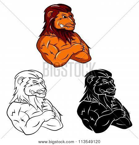 Tattoo Symbol Of Lion Heads .eps10 editable vector illustration design