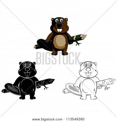 Coloring book Beaver cartoon character - vector illustration .EPS10