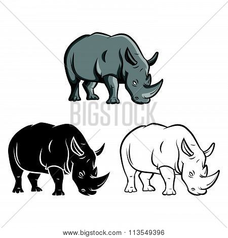 Coloring book rhinoceros cartoon character - vector illustration .EPS10
