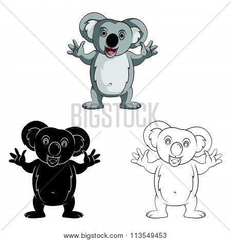 Coloring book Koala Doll cartoon character - vector illustration .EPS10