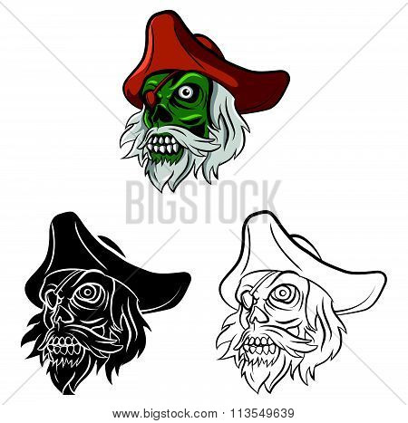 Coloring book Zombie Pirate cartoon character