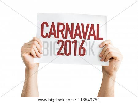 Carnaval 2016 placard isolated on white background