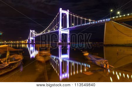 Beauty cable stayed bridge Thuan Phuoc reflected on the river