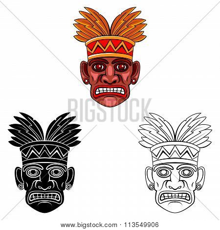 Coloring book Hawaii Mask cartoon character