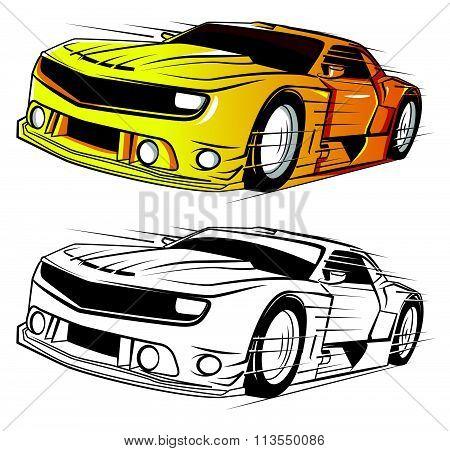 Coloring book Super Car cartoon character