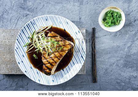 Swordfish Steak Teriyaki on Plate