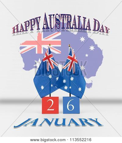Australia Day Greetings. Two Australian Table Flags With Date And Map Of Australia.