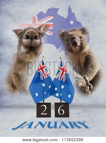 Two Australian Desk Flags, Koala And Kangaroo. 26 January Australia Day