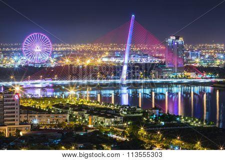 Architectural beauty sail bridge at night