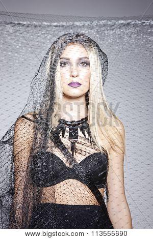 Blonde Model With Black Veil