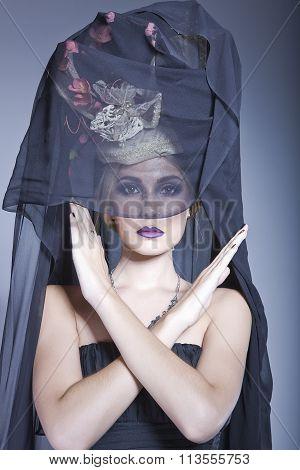 Lady Wearing A Long Black Veil