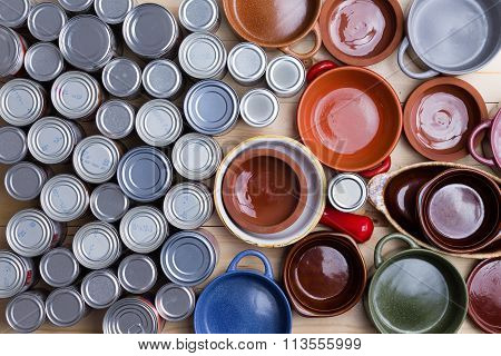 Assorted Cans And Food Bowls