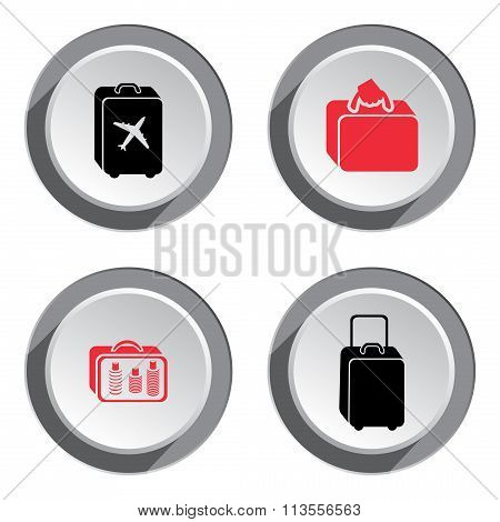 Airport baggage icon set. Hand luggage for traveling. Info symbol. Red and black signs on white-gray