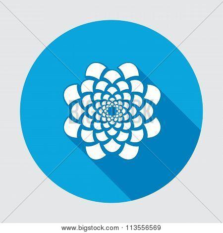 Flower icon. Dahlia, aster, daisy, chrysanthemum, gowan. Summer, autumn floral symbol. Round blue fl