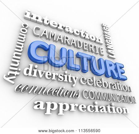 Culture word in blue 3d letters surrounded by related terms like community, diversity, interaction, language and communication
