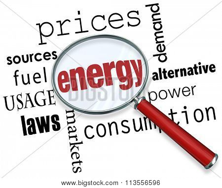 Energy word under a magnifing glass with other terms around it like prices, sources, fuel, usage, laws, markets, consumption, power, alternative and demand
