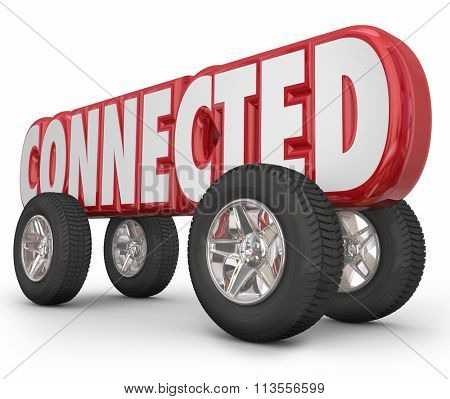 Connected word in red 3d letters on wheels to illustrate a car, truck or other vehicle using autonomous, ADAS or web based services for driving convenience