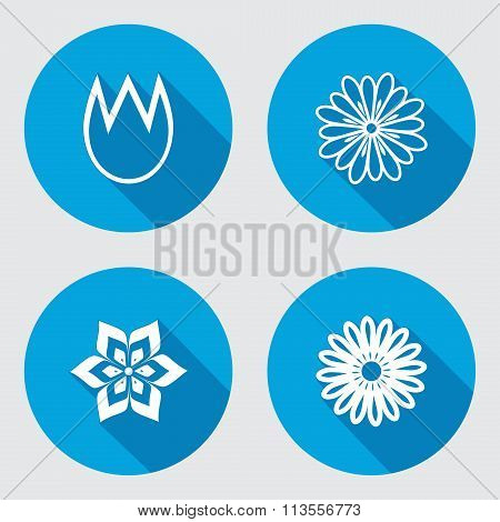 Flower icons set. Chamomile, tulip, daisy, orchid. Floral symbol. Round blue flat icon with long sha